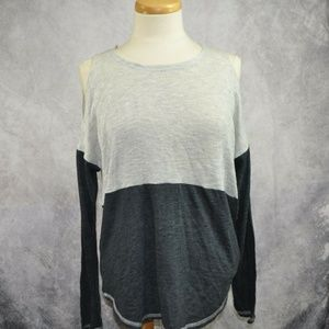 INC Cold Shoulder Top Luxe DC Black Gray Top